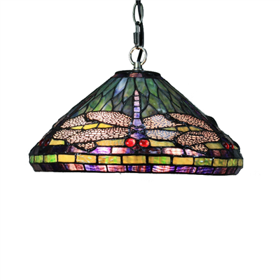 PL160021 16 inch dragonfly Tiffany Style Pendant Lamp stained glass hanging lighting