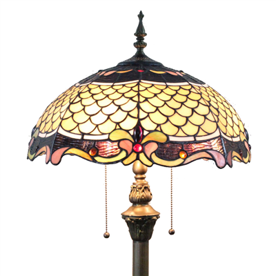 FL160015 16 inch Two lights Tiffany floor lamp stained glass floor lamp from China