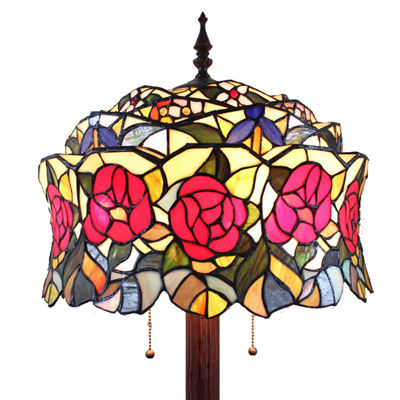 FL160060 16 inch Two lights rose flower Tiffany floor lamp stained glass floor lamp from China