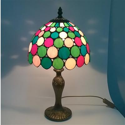 TL090001 9 inch resin base colorful tiffany table lamp from China Jiufa