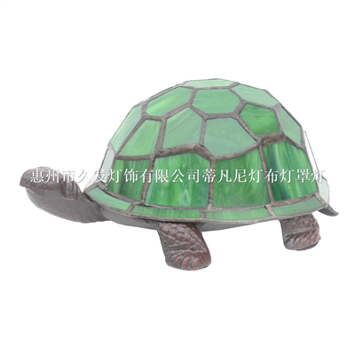 TLC00072GR Tiffany Style Stained Glass Lamp Turtle Accent Lamp Table Light Antique Bronze Art Glass