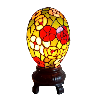 Tiffany Style Egg Shape Accent Lamp Stained Glass Lamp Colorful Egg Lamp Table Light Art Glass