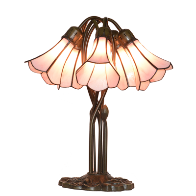 5 Lighting Pink Tiffany Lily lampshade Stained Glass table lamp Wedding gifts