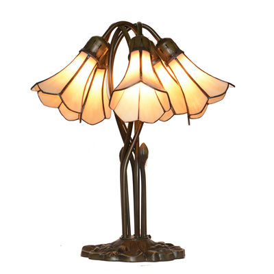 5 Lighting Beige Tiffany Lily lampshade Stained Glass table lamp Wedding gifts