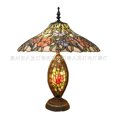 CL200001-flower tiffany stained glass Double Lit Table Lamp leaded glass Cluster Table Light