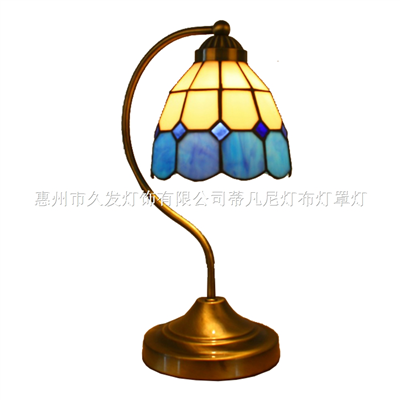 TLC00101-Curved Pole Blue White Mediterranean Style Tiffany Table Lamp