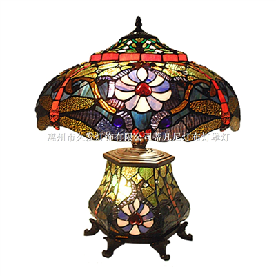 CL180010-Tiffany Style dragonfly double lit table lamp Light