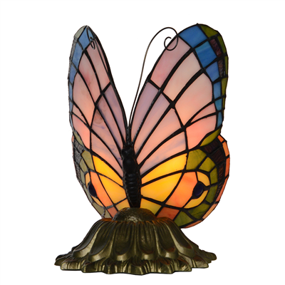 Tiffany Style Stained Glass Pastel Butterfly Accent Table Lamp Child Gift