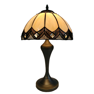 TL120200 12-inch Tiffany Crystal Lampshade With Bronze-plated Base Baroque Table Lamp