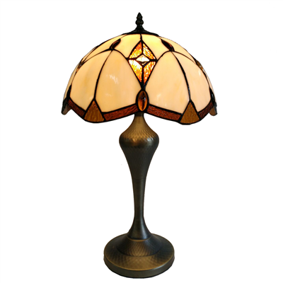 TL120201 12-inch Tiffany Lampshade With Bronze-plated Base  Table Lamp