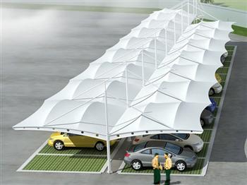 张拉膜结构车棚自行车棚遮阳棚-顺泽膜结构