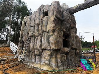 四川重慶主題餐廳主題酒店施工制作 水泥仿真溶洞巖洞假山假樹施工