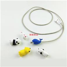 手机数据线套 PVC软胶充电线保护套 滴胶卡通公仔一口咬数据线套 可开模定制