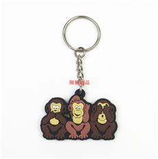PVC软胶钥匙扣 卡通小猴子钥匙扣 滴胶锁匙链饰品挂件 可开模定制
