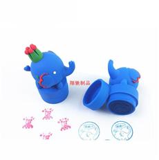 PVC软胶3D大象印章 创意卡通公仔儿童印章 可开模定制