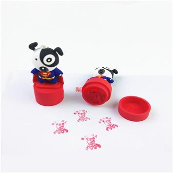 PVC软胶3D小狗印章 创意卡通公仔儿童印章 可开模定制