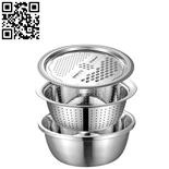 刨絲3件套(3pcs Stainless steel Multi-Pur***e Basin)ZD-ZYP18