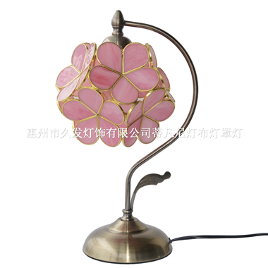 8-inch  Petal Tiffany Style Stained Glass Table Lamp Pink/Rice White