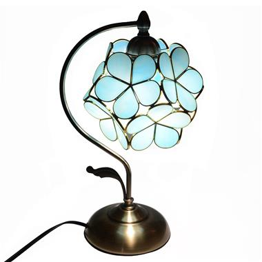 8-inch  Petal Tiffany Style Stained Glass Table Lamp Blue/Orange