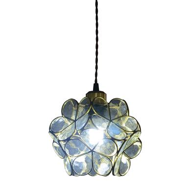 8-inch Petal Tiffany Style Transparent Water Glass Pendant Lamp Transparent/Blue