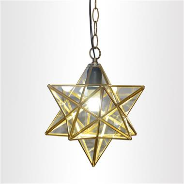 10 inch Star Shape 1-light Glass Pendant Lamp