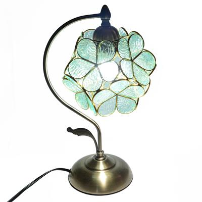 8-inch  Petal Tiffany Style Transparent   Water GlassTable Lamp  Transparent/Blue