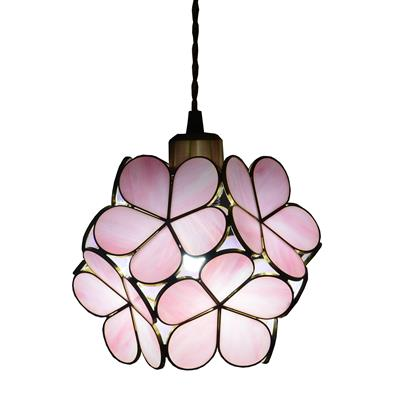 8-inch Petals Tiffany Style Stained Glass Ceiling Pendant Light Wide Lampshade Pink/
