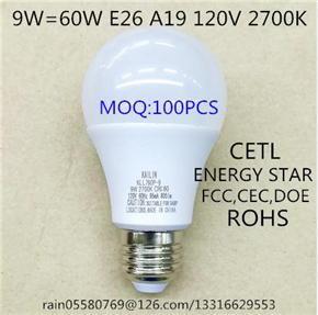 KLL760D-9A E26 9W LED BULB CETL CEC DOE FCC ICES