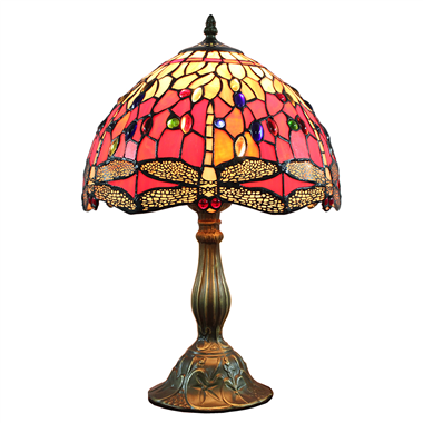 TL120204 Tiffany Table Lamp Red Dragonfly  Home Decoration