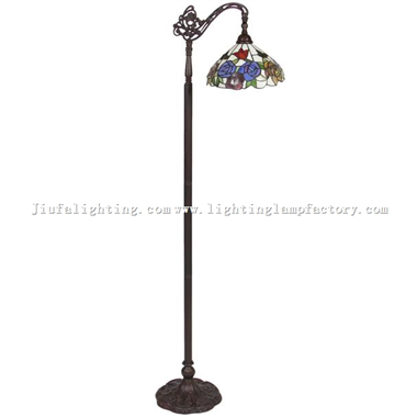 FL130019 Tiffany Floor Lamp Arched Style Stained Glass Reading Standing Light
