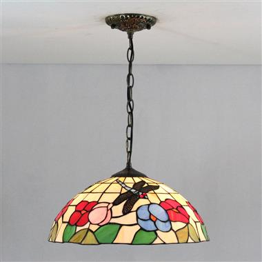 PL160016 Tiffany Style Dragonfly and Flower Pendant Lamp stained glass hanging lighting