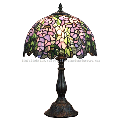 TL120208 12-inch Tiffany Crystal Lampshade With Bronze-plated Base Baroque Table Lamp