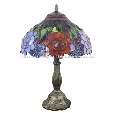 TL120210 12 inch Rose Tiffany Lamp  Stained Glass Lighting Home Decoration