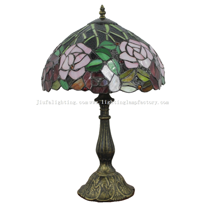 TL120209 12-inch Rose Tiffany Lamp  Stained Glass Lighting Home Decoration