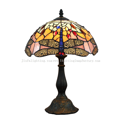 TL120211 Yellow Dragonfly Tiffany Table Lamp Grape Fruit Pattern Home Decoration