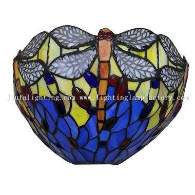 WL120070 Blue Yellow Stained Glass Dragonfly Shade Wall Light Lamp