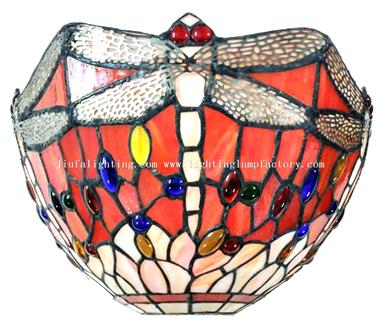 WL120072 Red Pink Tiffany Style Dragonfly Wall Lamp 12 inch Wide Vintage Wall Light Fixture