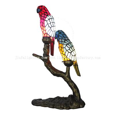 TLC00226 Tiffany style Exotic Parrot Birds Accent Lamp Gift for Bird Lovers