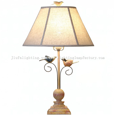 TRH140010 Bird table lamp fabric lampshade bedside table light
