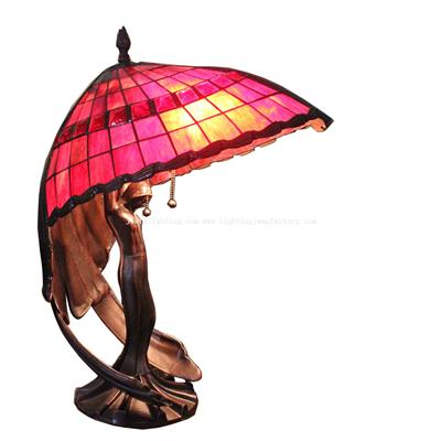 TLC00070 Flying Lady Red Tiffany Style Table Lamp