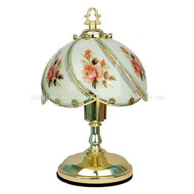 TCL0004 Glass Shade Polished Brass Base Table Touch Lamp