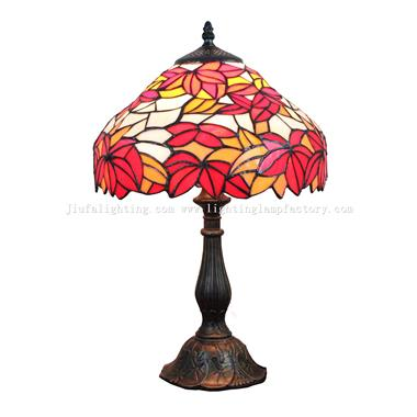 TL120109 Tiffany Style Maple Leaf Stained Glass Bedside Table Lamp Light