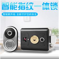 华府双面指纹庭院刷卡一体门禁锁不锈钢别墅电控锁定位舌设计(WF-014B)