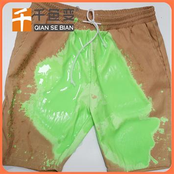 温变游泳裤 感温遇水变色沙滩裤 感温变色布料