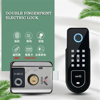 双指纹密码一体电控锁智能指纹密码庭院锁出租房门锁(WF-002)