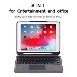 T205 Detachable wireless keyboard Case  with trackpad & pencil holder for iPad 9.7 inch