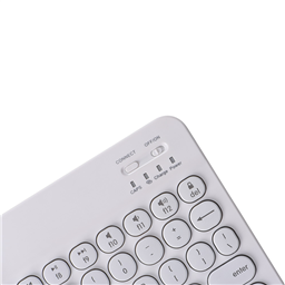 0301D 白色 圆形复古按键 7色背光 华为/苹果/安卓 手机 / 平板通用款键盘