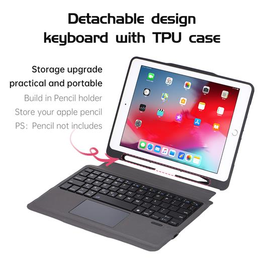T206 For iPad 7th Gen 10.2 Inch  detachable  trackpad keyboard case