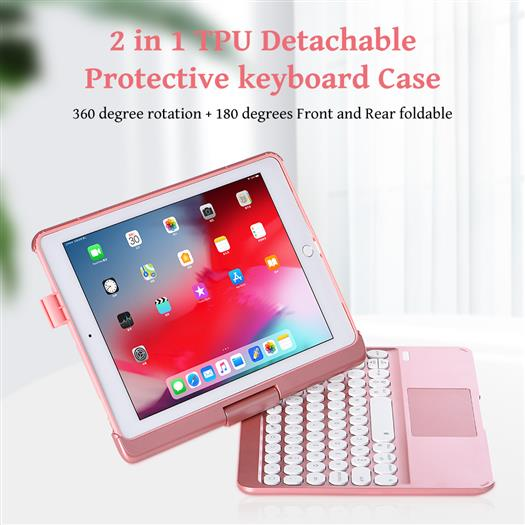 Q7 360 degree rotatable backlight keyboard with touchpad for Ipad 10.2 inch