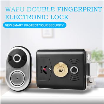 WAFU Double Fingerprint Outdoor Lock Stainless Steel Electronic Fingerprint Door Lock for Home/Facto